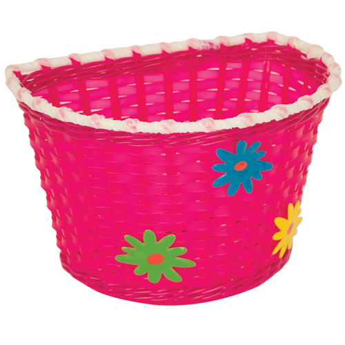 KIDDIES BASKET - PINK BASKET WITH GREEN,BLUE AND YELLOW FLOWERS